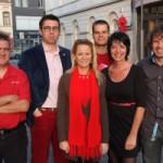 vlnr: Wim Wachtelaer, Misja De Ridder, Katie Coppens, Stijn Vermassen, Lut Vandenbrande, Lieven Meert